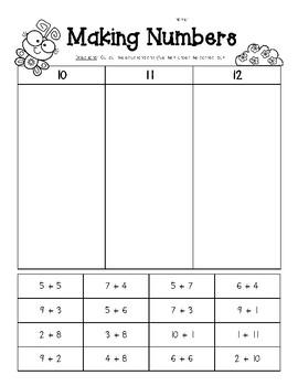 making numbers sums of 10 11 and 12 number sense worksheet tpt. Black Bedroom Furniture Sets. Home Design Ideas