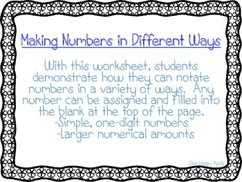 Making Numbers in Different Ways Math Workseet