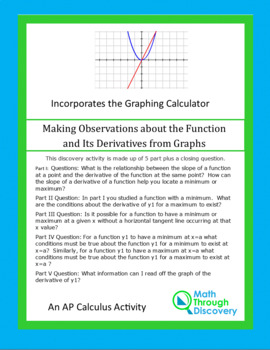 Calculus:  A Function and Its Derivatives - Making Observations