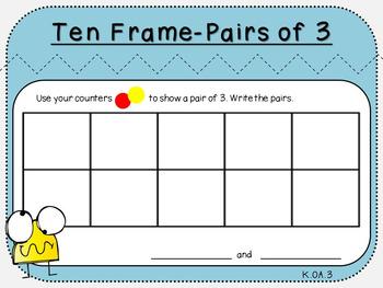 Making Pairs with Ten Frames (Kindergarten-K.OA.3)