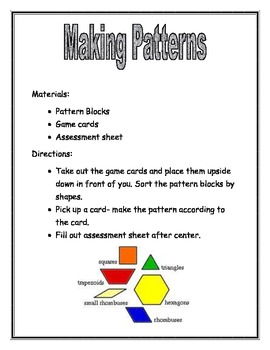 Making Patterns with pattern blocks