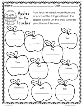 Making Plurals Practice Pages (Apples for the Teacher)
