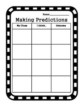 Writing Graphic Organizer - Making Predictions