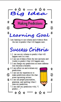 Reading Strategy Poster - Making Predictions - Learning Goals, Success Criteria