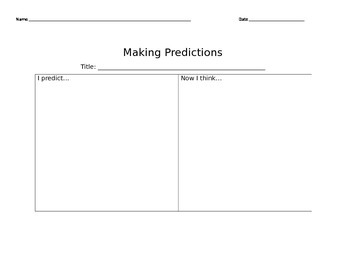 Making Predictions Graphic Organizer