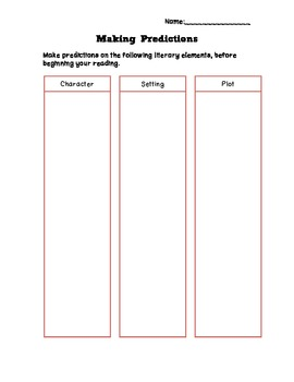 Making Predictions: Literary Elements