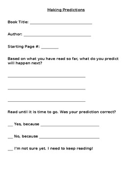 Making Predictions Practice Page