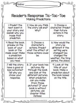 Making Predictions Introduction with Reader's Response Tic-Tac-Toe Board