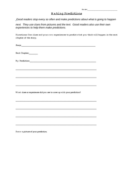 Making Predictions Response Worksheet