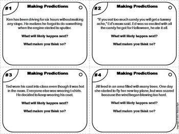 Making Predictions Task Cards 3rd 4th 5th 6th Grade Inferencing Activity