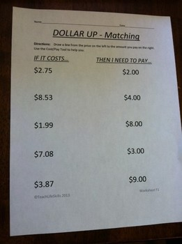 Making Purchases: Dollar Up Worksheets
