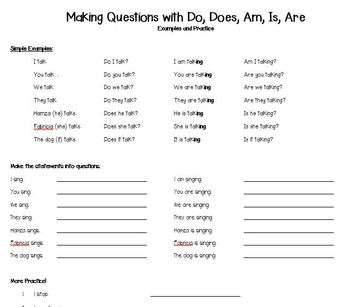 Making Questions with Do, Does, Am, Is, Are