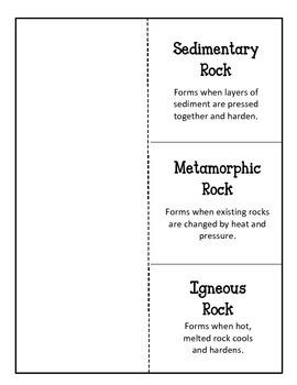Making Rocks!! Foldable and Worksheet Igneous Sedimentary Metamorphic