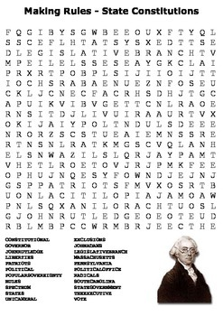 Making Rules - State Constitutions Word Search