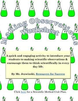 Making Scientific Observations Worksheets