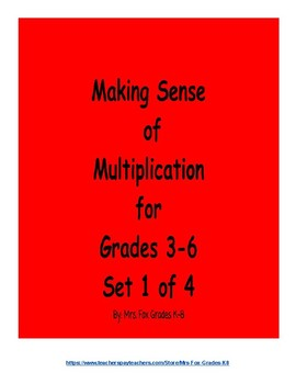 Making Sense of Multiplication Set 1 of 4 (2 x 1 Digit Multiplication)