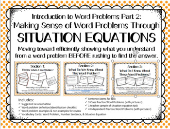 Making Sense of Word Problems Through Situation Equations