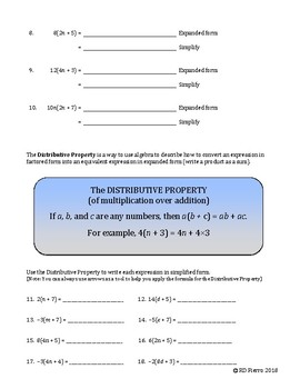 ACTIVITY Making Sense of the Distributive Prop of Multipl over Addition