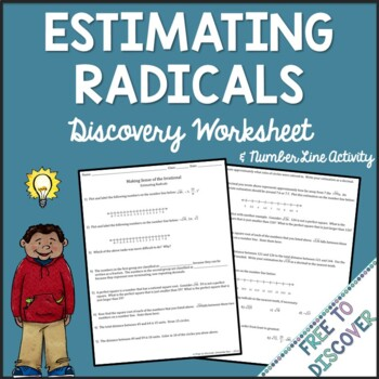 Estimating Square Roots Discovery Worksheet and Number Line Activity