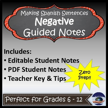 Making Sentences Negative in Spanish - Guided Notes and Key