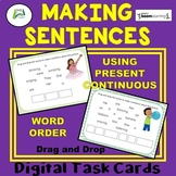 Making Sentences Using Present Continuous Boom Distance Learning Task Cards