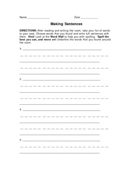 Making Sentences (for read & write the room)