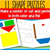 Shapes Puzzle Pictures - Make a Center or Cut and Paste