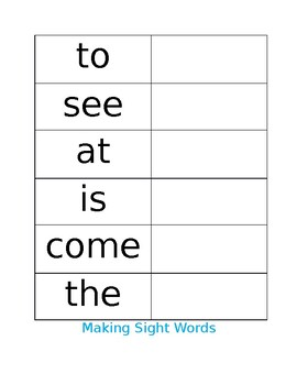 Making Sight Words - Editable