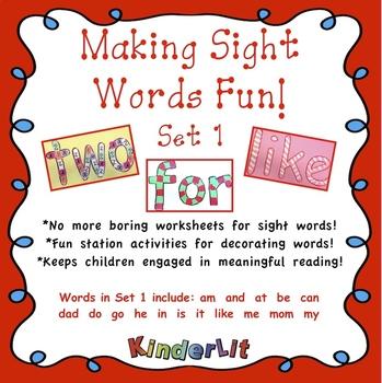 Making Sight Words Fun - Set 1
