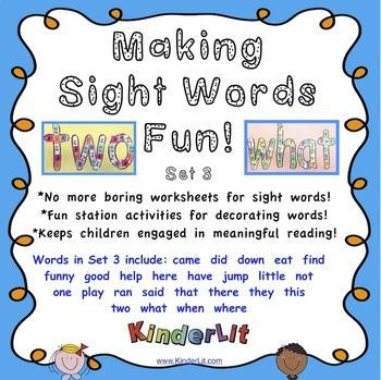 Making Sight Words Fun Set 3