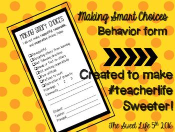 Making Smart Choices Behavior Form