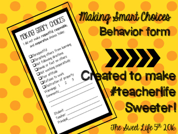 Making Smart Choices Behavior Form