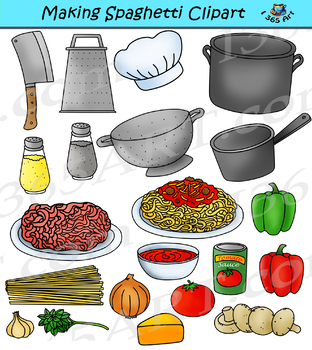 Making Spaghetti Clipart Kitchen Pasta Clip Art Graphics - Commercial