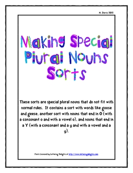 Making Special Plural Nouns