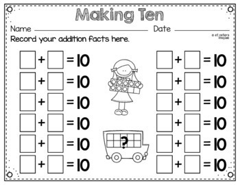 Making Ten ~ A Ten Frame Card Game