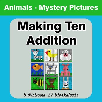 Making Ten Addition - Math Mystery Pictures / Color By Number - Animals