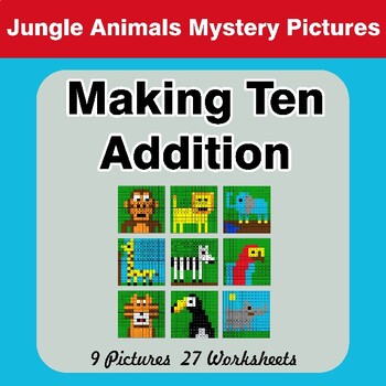 Making Ten Addition - Math Mystery Pictures / Color By Number - Jungle Animals
