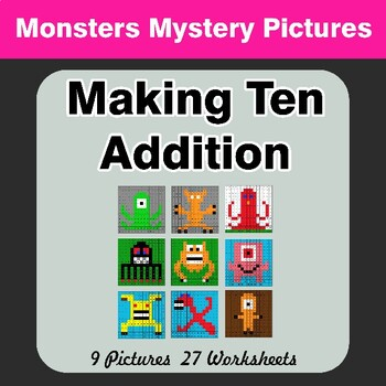 Making Ten Addition - Math Mystery Pictures / Color By Number - Monsters