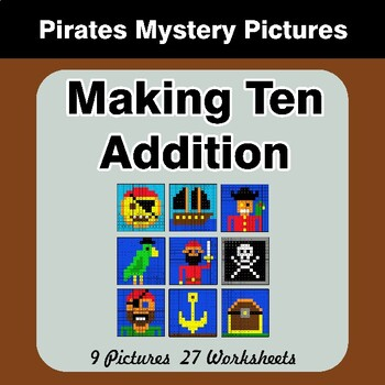 Making Ten Addition - Math Mystery Pictures / Color By Number - Pirates