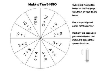Making Ten BINGO Addition Concepts Math Center or Station