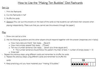 """""""Making Ten Buddies"""" Dot Flashcards"""