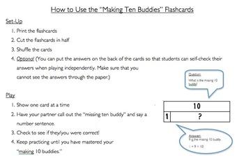 Making Ten Buddies Number Model Flash Cards