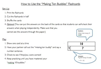 Making Ten Buddies Number Model Flash Cards
