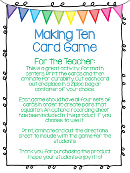 Making Ten Card Game for Math Centers