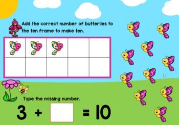 Making Ten Digital Boom Cards Kindergarten Core Standard KOA.A.4 Spring