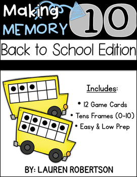Making Ten Memory Math Center- Back to School Edition
