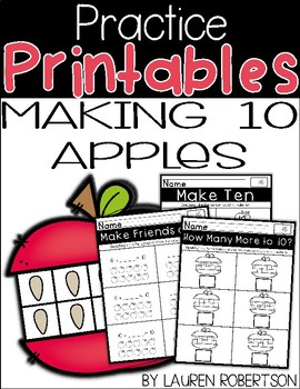 Making Ten Practice Printables: Apple Themed