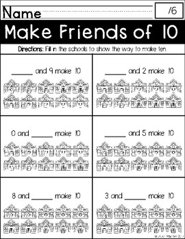 Making Ten Practice Printables: Back to School Themed