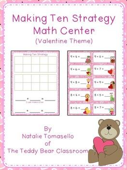 Making Ten Strategy Math Center - Valentine Theme