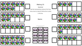 Making Ten Themed No Prep Sheets